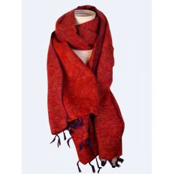 Yak wool scarf red and blue