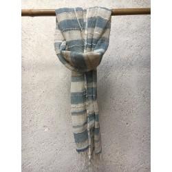 Echarpe Coton Bio Organique  - Beige et Bleu à Rayures