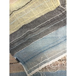 Echarpe Coton Bio Organique  - Plusieurs couleurs à rayures, liseré noir