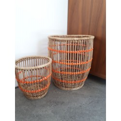 Corbeille à papier orange Rotin et Scoubidou