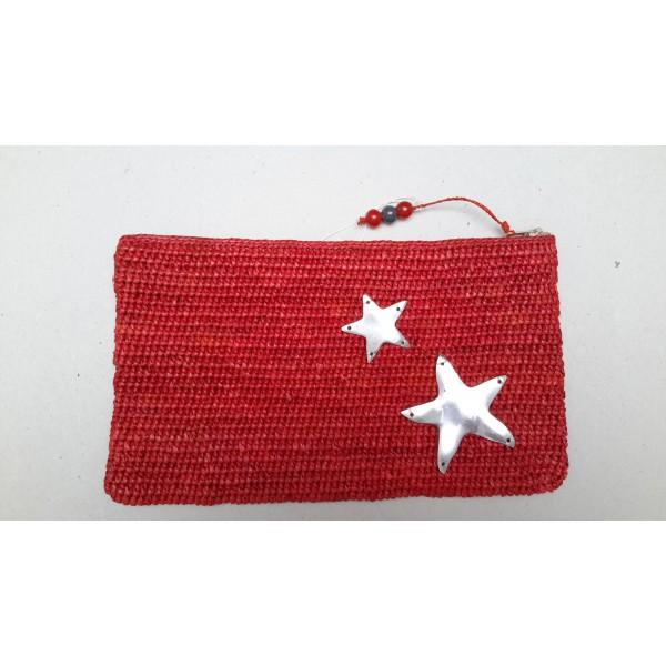 Pochette avec étoile Raphia