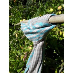 Scarf Cotton Organic blue and grey