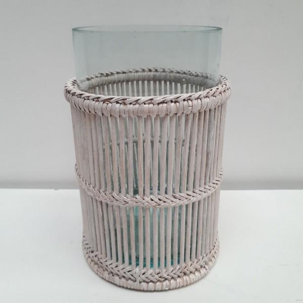 Set de 2 photophores cylindriques ajour L blanc