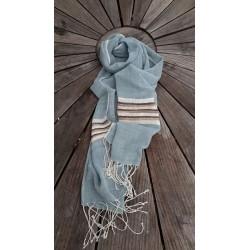Echarpe Coton Organic - Bleu Pastel et Rayures